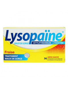 Lysopaïne Cetylpyridinium Lysozyme Fraise 36 comprimés sans surcre copie