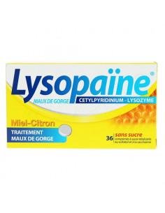 Lysopaïne Cetylpyridinium Lysozyme Miel Citron 36 comprimés sans surcre
