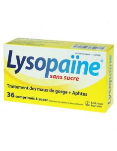 Lysopaïne sans sucre Maux de gorge et Aphtes. 36 comprimés à sucer