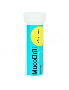 MucoDrill 600mg Arôme Orange Sans Sucre. 10 comprimés effervescents