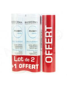 Atoderm Lèvres Stick Hydratant. Lot 2 sticks 4g + 1 stick OFFERT