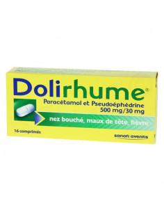 Dolirhume Paracétamol/Pseudoéphédrine 500 mg/30 mg. 16 comprimés