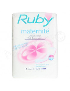 Ruby Maternité Ultra Absoption 12 Serviettes Maxi
