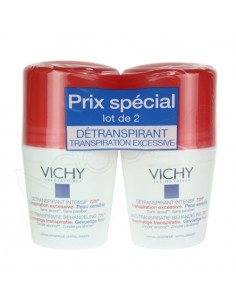 Vichy Détranspirant Intensif 72h Transpiration excessive. Lot 2 Roll-on 50ml