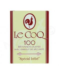 Le Coq 100 Bâtonnets Ouatés avec Embout Sécurité spécial Bébé