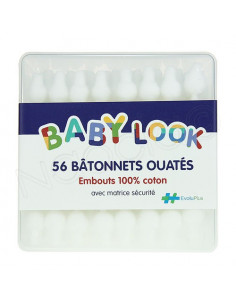 Baby Look 56 Bâtonnets Ouatés Embouts 100% coton avec matrice sécurité