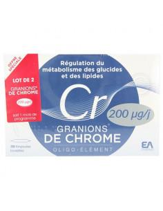 Granions de Chrome 200µg/j Cr Oligo-élément. Lot 2 Boites 30 ampoules buvables