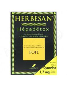Herbesan Hépadétox Foie. Boite 45 gélules