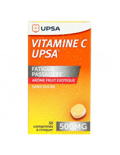 Vitamine C Upsa 500mg Fruits Exotiques Sans sucre 30 comprimés à croquer