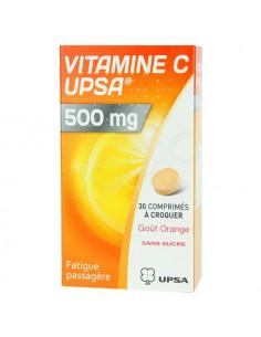 Vitamine C UPSA 500 mg. 30 comprimés à croquer goût Orange