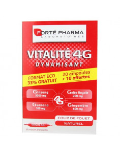 Offre Forté Pharma Vitalité 4G Dynamisant. 20 ampoules + 10 OFFERTES