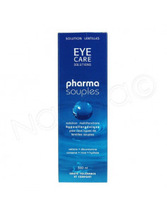 Eye care solution Pharma Souples solution multifonctions pour lentilles. Flacon de 360ml + étui