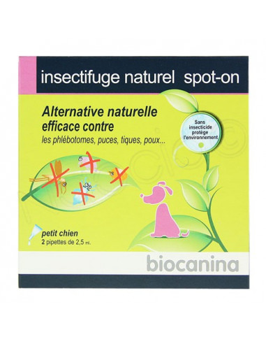 Insectifuge Spot-On pour petit chien. 2 pipettes