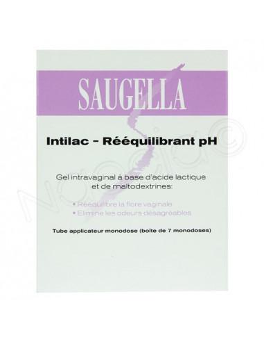 Saugella Intilac Gel Intravaginal Réequilibrant pH. Boite de 7 doses de 5ml.