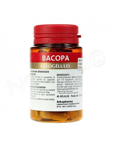 Arkogélules Bacopa Mémoire - Détente. Boîte de 45 gélules