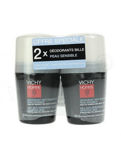 Vichy Homme Déodorant Anti-transpirant Peau Sensible. Lot 2x50ml