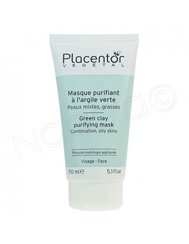 Placentor Vegetal Masque purifiant Argile Verte Peau Grasse. Tube 150ml