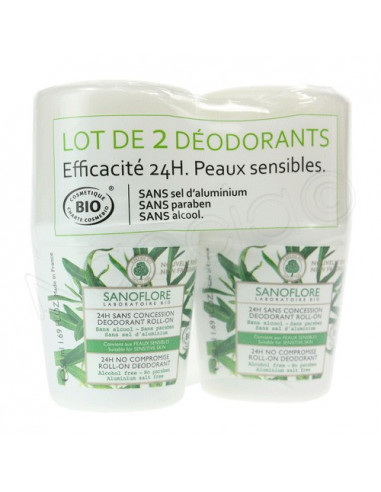 Sanoflore Déodorant Bio 24H Sans Concession. Lot 2 Roll-on 50ml