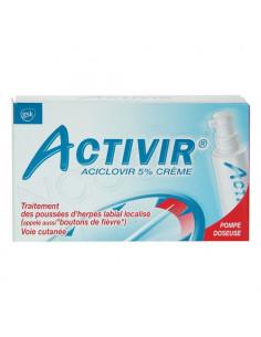 Activir Aciclovir 5% Crème Traitement Herpès Labial Localisé. Pompe doseuse 2g