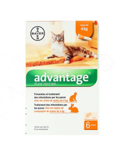Advantage chat et lapin +4kg. 4 Pipettes 0.8ml
