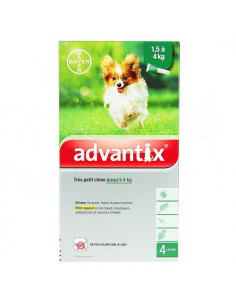 Advantix Très petit chien Solution Spot-on 1.5kg-4kg. 4 pipettes de 0.4ml