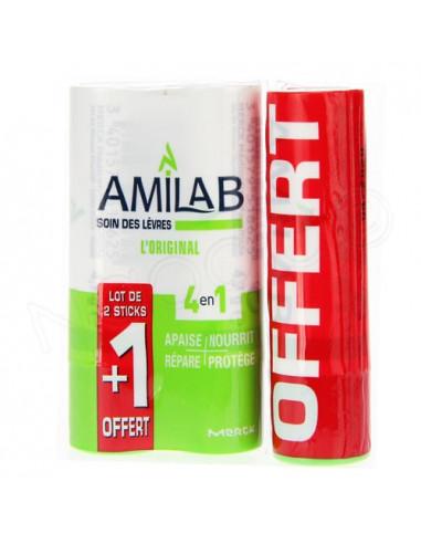 Amilab Soin des Lèvres 4en1. Lot 2 sticks +1 OFFERT