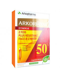 Arkoroyal Dynergie Fortifiant Stimulant. Lot 2x20 ampoules