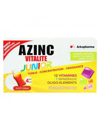 Arkopharma Azinc Vitalité Junior Tonus Concentration Croissance Goût Cola Sans Sucres. 30 comprimés