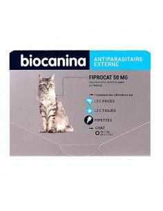 Biocanina Fiprocat 50mg Antiparasitaire externe - puces et tiques. 3 pipettes de 0.50ml -