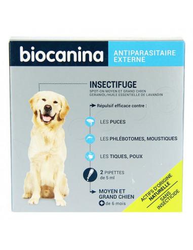 Insectifuge naturel Spot-On Moyen et Grand chien. Boite de 2 pipettes