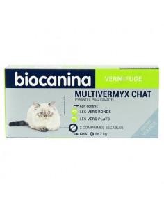 Biocanina Vermifuge Multivermyx Chat + de 2kg Arôme Viande. 2 comprimés sécables