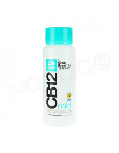 CB12 Mild Bain bouche Haleine Sûre Menthe légère effet 12h. Flacon 250ml