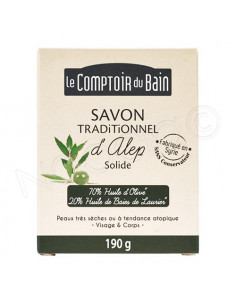 Le Comptoir du Bain Savon Traditionnel d'Alep Solide Peaux Très Sèches. 190g