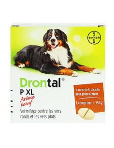 Drontal P XL Vermifuge Vers ronds et plats arôme Boeuf pour Grands Chiens. 2 comprimés secables