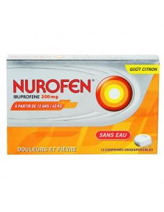 Nurofen Ibuprofene 200mg Douleurs et Fièvre Goût Citron. 12 comprimés orodispersibles
