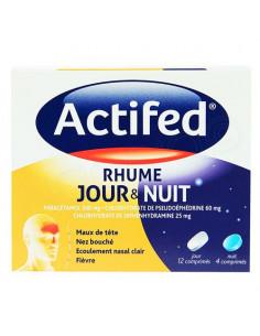 Actifed Rhume Jour & Nuit. 12 comprimés jour + 4 nuit