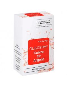 Granions Oligostim Cuivre Or Argent. 40 comprimés - état grippal et fatigue