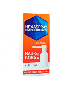 Hexaspray Fruits Exotiques Maux de Gorge Collutoire. 30g - biclotymol antiseptique