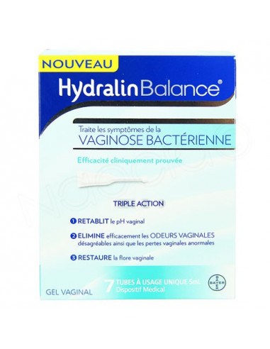 Hydralin Balance Vaginose Bactérienne Gel Vaginal. 7 unidoses