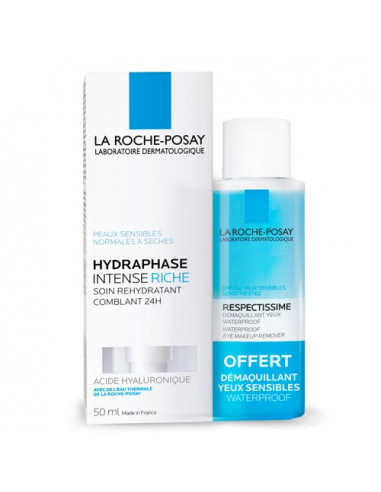 La Roche Posay Hydraphase Intense Riche 50ml + Respectissime Démaquillant Yeux Waterproof 50ml OFFER