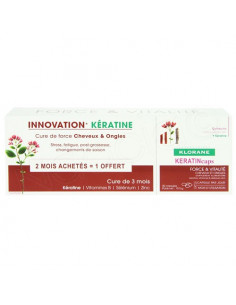 Klorane KeratinCaps Cure de Force Cheveux et Ongles. Lot 3x30 capsules
