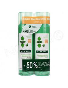Klorane Shampooing Sec Séboréducteur à l'Ortie Cheveux Châtains à Bruns Gras. 2x150ml