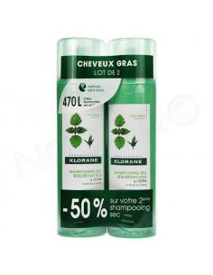 Klorane Shampooing Sec Séboréducteur à l'Ortie Cheveux Gras. Lot 2x150ml