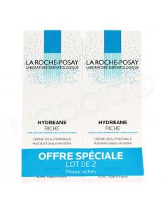 Hydreane Riche Crème Hydratante Peaux Sensibles Sèches. Lot 2x40ml