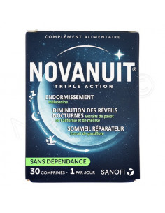 NovaNuit Triple Action. 30 comprimés - 1mg mélatonine pavot de Californie passiflore
