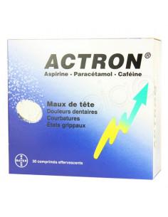 Actron Aspirine Paracétamol Caféine 30 comprimés effervescents