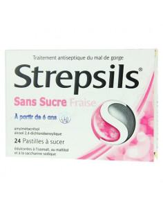 Strepsils Sans Sucre Fraise Enfants 24 pastilles à sucer