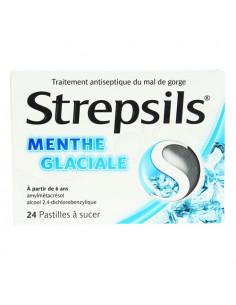 Strepsils Mal de Gorge Menthe Glaciale. 24 pastilles à sucer