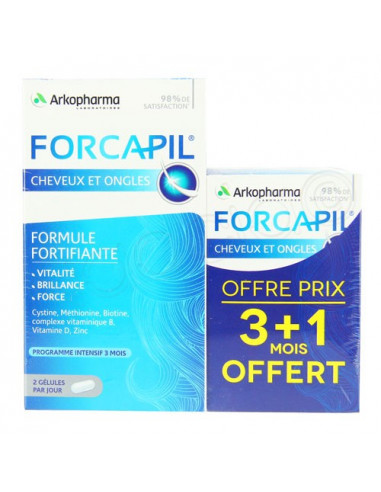 Programme Intensif FORCAPIL Cheveux Ongles. Cure 3 mois + 1 mois OFFERT