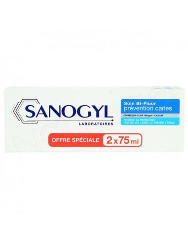 Offre Sanogyl Soin Bi-Fluor Prévention Caries. Lot 2x75ml